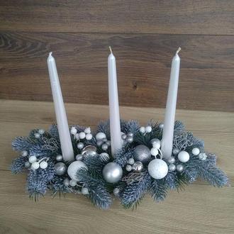 Композиция новогодняя со свечами, Подсвечник новогодний рождественский со свечами на стол