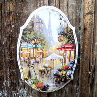 Настенная ключница в прихожую Вешалка для ключей Париж Органайзер для ключей Прованс