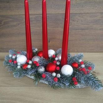 Новорічна композиція зі свічками, підсвічник новорічний різдвяний зі свічка