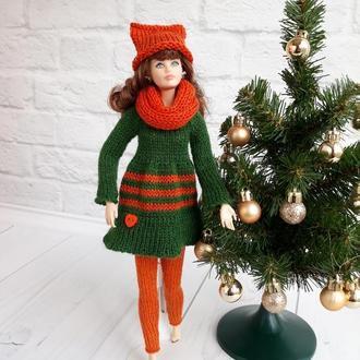"""Вязаная одежда на Барби. комплект на Барби """"Лисенок"""", подарок девочке"""