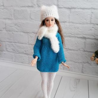 """Одежда для кукол Барби комплект """"Снежинка"""" шапочка с ушками, подарок девочке"""