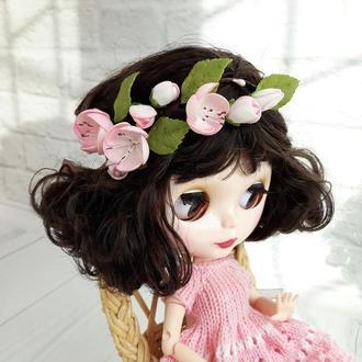 Веночек с цветами сакуры на Блайз, украшение для куклы