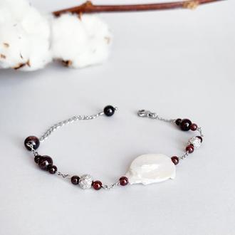Браслет из граната и жемчуга барокко. Браслет из натуральных камней (модель № 588) JK jewelry