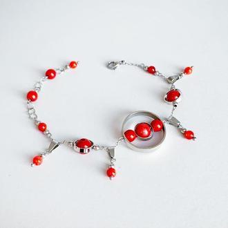 Браслет из красного коралла. Браслет с подвесками. Красный браслет (модель № 589) JK jewelry