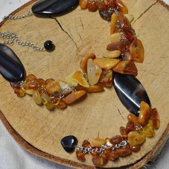 Колье из натурального янтаря и агата ′Подсолнух′