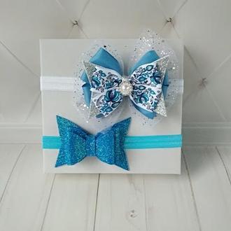Повязки для малышки на годик Украшение для волос ребёнку Подарок девочке на день рождение