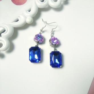 Серьги с кристаллами/ Стильная геометрия
