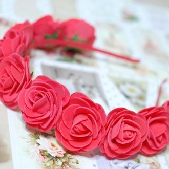 Обруч ободок венок с большими цветами