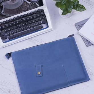 Кожаный чехол для Macbook на молнии голубой