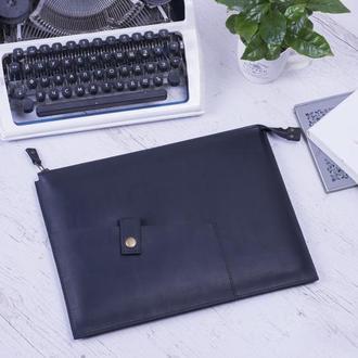 Кожаный чехол для Macbook на молнии черный