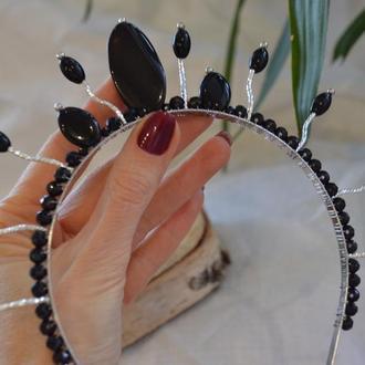 Корона, диадема с черным агатом ′Персефона′