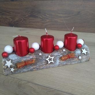 Новорічний різдвяний підсвічник, Композиція новорічна зі свічками