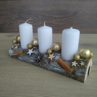Подсвечник новогодний, рождественский. Рождественская свеча. Композиция со свечами на стол.