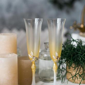 Свадебные бокалы Золотая нежность. Бокалы на свадьбу в золоте