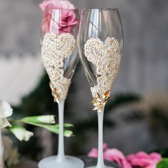 Бокалы на свадьбу Кружевная вуаль. Свадебные бокалы с кружевом.