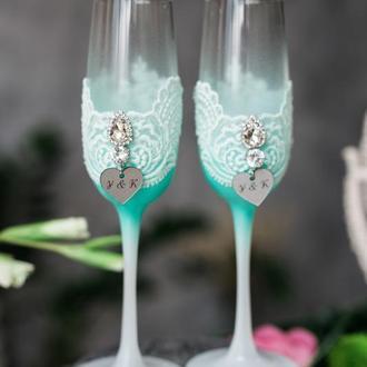Бокалы на свадьбу Бриз лагуны. Свадебные бокалы для молодожен.