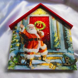 """Велика вішалка -будиночок """"Дід Мороз"""" в дитячу, ключниця, подарунок"""
