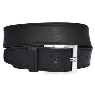 Grand 4.5 см кожаный мужской черный широкий ремень со строчкой кожа пояс кожанный
