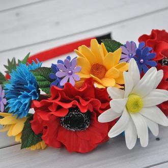Ободок с цветами в Украинском стиле Украшение в волосы с цветами маки,васильки,ромашки
