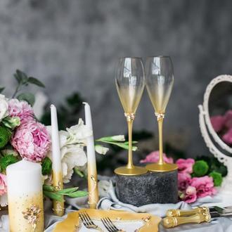 Свадебные фужеры Золотой туман. Золотые свадебные бокалы.