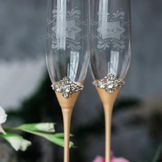 Свадебные фужеры Персиковый рассвет. Бокалы на свадьбу в персиковом цвете.