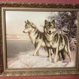 """Картина з бісеру """"Вовки"""""""
