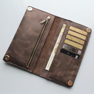 Мужской кожаный кошелек темно-коричневый