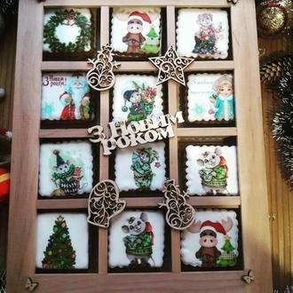 """Деревянная коробочка с имбирными пряниками """" С Новым годом!"""""""