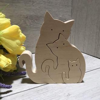 """Деревянная игрушка пазл """"Семья кошек"""" Деревянные пазлы Кошка Котик Семья котов"""