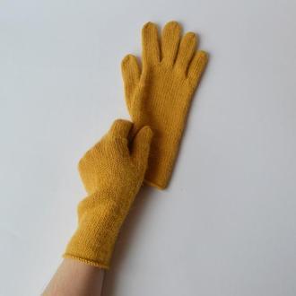 Вязаные женские перчатки из шерсти и альпаки. Теплые базовые перчатки горчичного цвета.