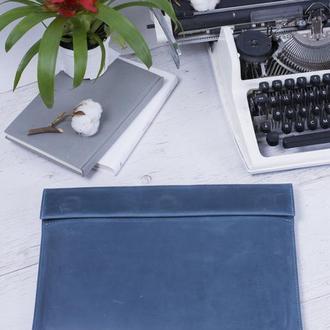 Кожаный чехол для ноутбука на скрытых магнитах голубой