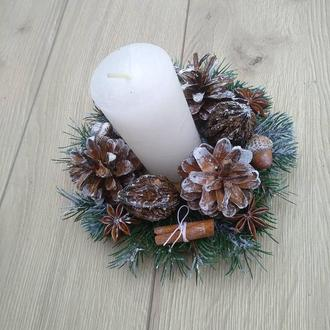 Підсвічник новорічний різдвяний зі свічкою, Новорічна композиція зі свічкою на стіл