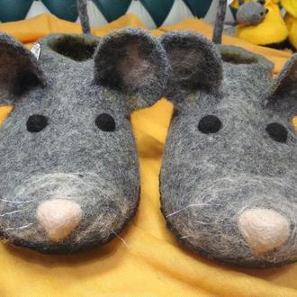 Тапочки Крысята Крысы Крыски валяные из шерсти #тапки#подарунки#ексклюзивнодляВас