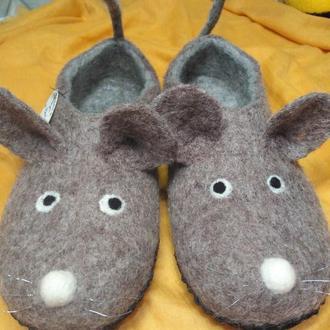 Тапочки Крыски валеные из шерсти #тапки#подарунки#ексклюзивнодляВас
