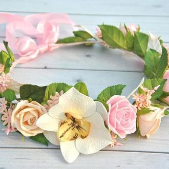 Веночек с цветами для самых маленьких Венок с розами,орхидеей в нежных тонах