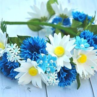 Обруч с васильками ромашками Украшение в волосы с цветами для девочки под вышиванку