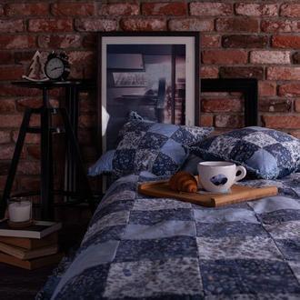 Джинсовый квилт Двухстороннее джинсовое покрывало с подушками