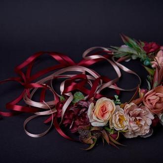 Большой бордовый венок с лентами Бежевый веночек на голову Осенний венок Пастельная венок