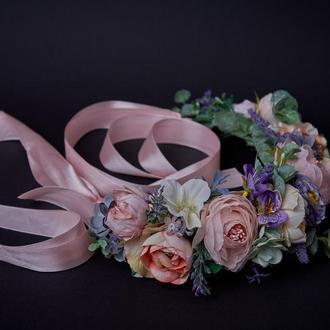 Венок фиолетовый розовый персиковый Венок с лентами Венок с розами Венок с пионами и розами