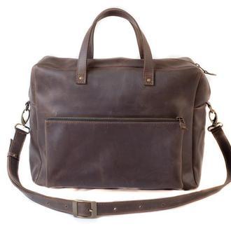 Кожаная сумка мессенджер. 07004/коричневый