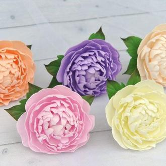 Заколка (резинка) пион Цветы в прическу для девочки