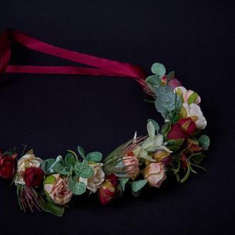 Вінок бордовий з трояндами Венок бежевый с лентами Венок с розами Венок с цветами Обруч