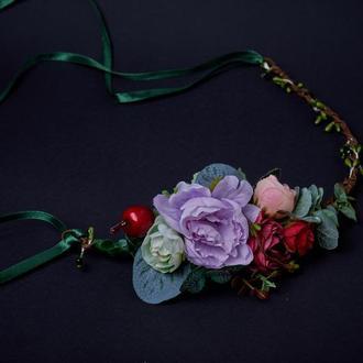 Веночек с цветами фиолетовый Цветы для волос Віночок половинка Віночок на лозі Веночек с лентами
