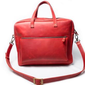 Кожаная сумка мессенджер. 07004/красный