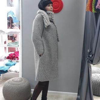 Серо-бежевое пальто из органической шерсти с альпакою на подкладке из натурального шелка