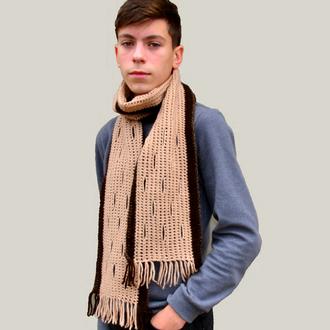Шарф вязаный женский.Мужской шарф. В'язаний чоловічий шарф. Жіночий шарф. Жіночий шалик