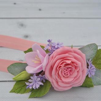 Детская повязка с розовыми цветами на голову для ребенка Эластичная повязка для малышки