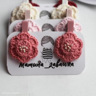 Заколки детские для волос вязаные цветы розовые подарок для девочки