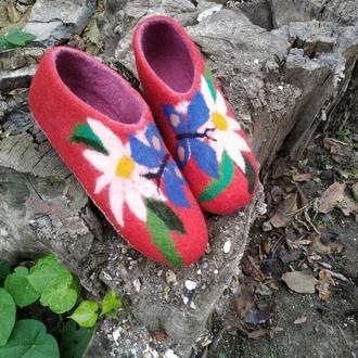 Валеные тапочки Цветочные