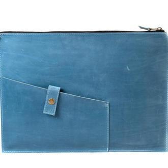 Кожаный чехол для Macbook на молнии. 03006/голубой
